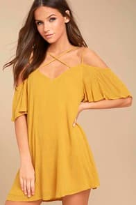Afterglow Yellow Shift Dress at Lulus.com!