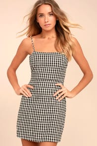 Sawyer Black and White Gingham Mini Dress at Lulus.com!