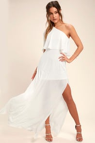 Angelic Way White One-Shoulder Maxi Dress at Lulus.com!