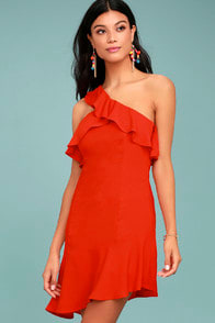 Beautiful View Coral Red One-Shoulder Dress at Lulus.com!