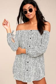 Festival White Striped Off-the-Shoulder Dress at Lulus.com!