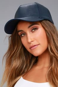 Playful Pastime Navy Blue Vegan Leather Baseball Cap at Lulus.com!