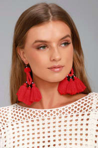 Paint the Town Red Tassel Earrings at Lulus.com!