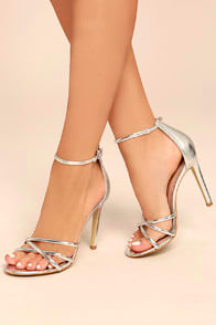 MICHELLA SILVER ANKLE STRAP HEELS at Lulus.com!