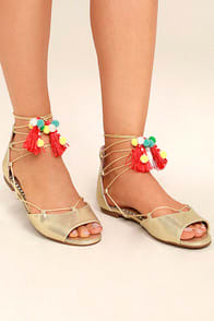 BETSEY JOHNSON ABREE GOLD LACE-UP POMPOM SANDALS at Lulus.com!