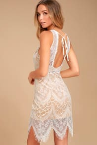 Serious Love White Lace Bodycon Dress at Lulus.com!