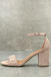 Report Pascal Light Pink Suede Pearl Ankle Strap Heels at Lulus.com!