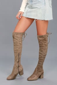 Mahala Taupe Suede Over the Knee Boots at Lulus.com!