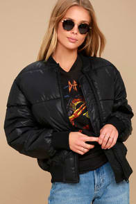 Risky Black Puffer Bomber Jacket at Lulus.com!