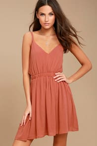 HERE'S TO THE GOOD TIMES RUSTY ROSE SKATER DRESS at Lulus.com!