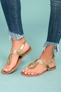 LIBBY GOLD THONG SANDALS at Lulus.com!