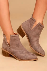 IDRA TAUPE SUEDE STAR BOOTIES at Lulus.com!