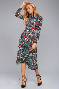 I. MADELINE GARDEN SPLENDOR BLACK FLORAL PRINT DRESS at Lulus.com!