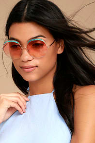 CRAP EYEWEAR THE CLOUD MAGIC TURQUOISE AND ROSE GOLD SUNGLASSES at Lulus.com!
