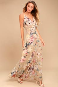 Something Just Like This Beige Floral Print Maxi Dress at Lulus.com!