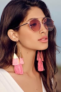 ETTIKA DESTINY AROUND YOU HOT PINK AND GOLD EARRINGS at Lulus.com!