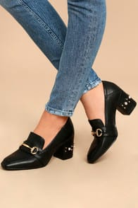 STEVEN BY STEVE MADDEN LAYLA BLACK LEATHER BLOCK HEELS at Lulus.com!