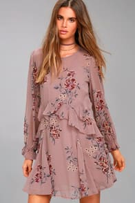 ASTR THE LABEL HEATHER MAUVE FLORAL PRINT LONG SLEEVE DRESS at Lulus.com!