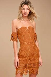 J.O.A. Kyler Burnt Orange Lace Off-the-Shoulder Dress at Lulus.com!