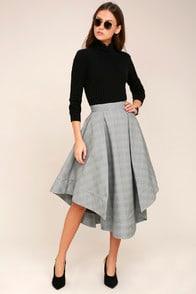 We Woke Up Grey Plaid Midi Skirt at Lulus.com!