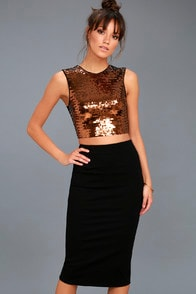 ALI & JAY DISCO BALL COPPER AND BLACK SEQUIN TWO-PIECE DRESS at Lulus.com!