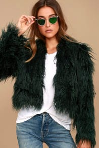 KEEPSAKE AURORA FOREST GREEN FAUX FUR COAT at Lulus.com!