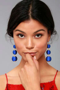 DAWN DAYS ROYAL BLUE EARRINGS at Lulus.com!