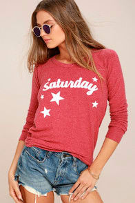 CHASER SATURDAY WASHED RED BACKLESS SWEATSHIRT at Lulus.com!
