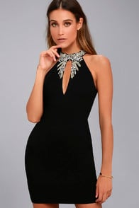 Alluring Evening Black Beaded Bodycon Dress at Lulus.com!