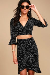 PARISIAN DREAM BLACK AND WHITE POLKA DOT PENCIL SKIRT at Lulus.com!