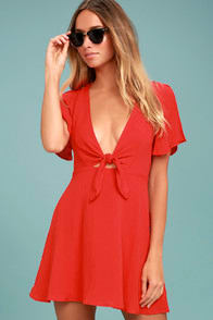 Sea Day Red Skater Dress at Lulus.com!