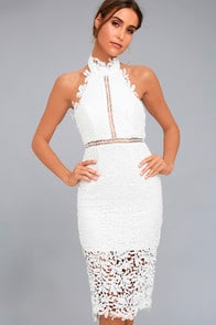 Divine Destiny White Lace Midi Dress at Lulus.com!