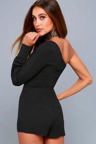 Truth or Dare Black One-Shoulder Romper at Lulus.com!