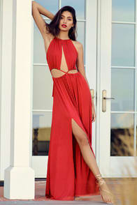 Sultry Something Coral Red Backless Maxi Dress at Lulus.com!