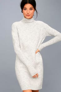 Snow Park Light Heather Grey Sweater Dress at Lulus.com!
