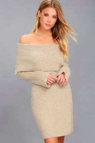 RD Style Weekend in Vail Beige Off-the-Shoulder Sweater Dress at Lulus.com!
