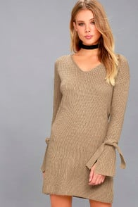 TAKE A BREATH BEIGE LONG SLEEVE KNIT SWEATER DRESS at Lulus.com!