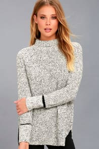 RD Style Foggy Night Black and White Turtleneck Sweater at Lulus.com!