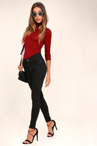 CHEAP MONDAY MID SKIN BLACK SKINNY JEANS at Lulus.com!