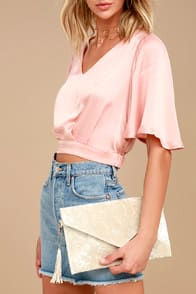 TOTALLY CRUSHIN' LIGHT BEIGE VELVET CLUTCH at Lulus.com!