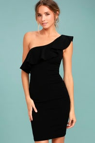 Life is But a Dream Black One-Shoulder Bodycon Dress at Lulus.com!