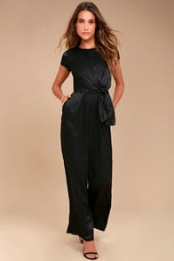 Let Me Entertain You Black Satin Wide-Leg Jumpsuit at Lulus.com!