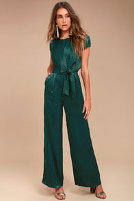 LET ME ENTERTAIN YOU FOREST GREEN SATIN WIDE-LEG JUMPSUIT at Lulus.com!