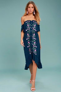 Rahi Cali Vineyard Escape Navy Blue Off-the-Shoulder Dress at Lulus.com!