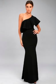 So Amazed Black One-Shoulder Maxi Dress at Lulus.com!