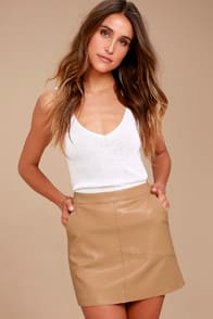 HARLEY TAN VEGAN LEATHER MINI SKIRT at Lulus.com!