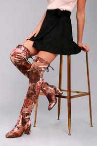 GILLIAN BROWN PRINT VELVET OVER THE KNEE BOOTS at Lulus.com!