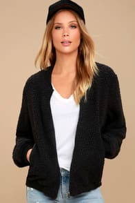 GRANGER BLACK SHEARLING BOMBER JACKET at Lulus.com!