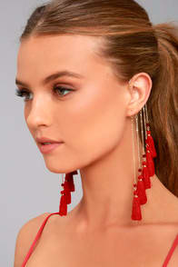 SOUL OF A GYPSY GOLD AND RED TASSEL EAR CUFF at Lulus.com!