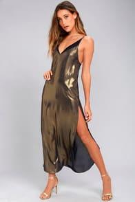 FREE PEOPLE ANYTIME SHINE GOLD SLIP DRESS at Lulus.com!